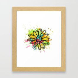 GC031-10 Colorful watercolor doodle flower green and purple Framed Art Print