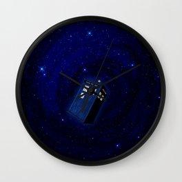 Flying Tardis Starry Night Wall Clock