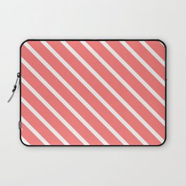 Watermelon Pink Diagonal Stripes Laptop Sleeve