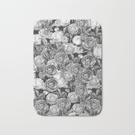 Vintage Roses Black And White Bath Mat