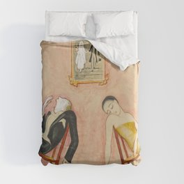 Family Idyll; Love and Marriage and Other Common Disasters portrait painting by Nils Dardel Duvet Cover
