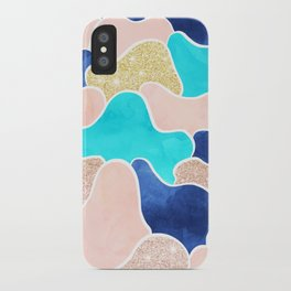 Color block faux gold turquoise pink watercolor iPhone Case