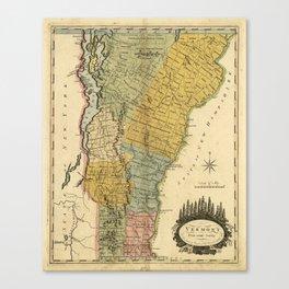 Vintage Map of Vermont (1814) Canvas Print