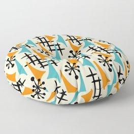 Mid Century Modern Atomic Wing Composition Orange & Blue Floor Pillow