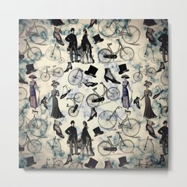 Victorian Bicycles and Fashion Metal Print
