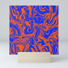 Blue and Orange Abstract Melt Mini Art Print