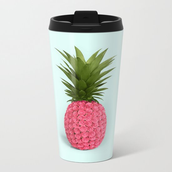 PINEAPPLE ROSES Metal Travel Mug