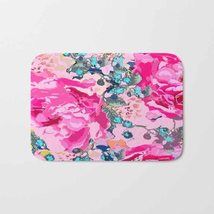 Pink floral work with some turquoise and yellow details Bath Mat