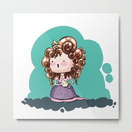 Eli - Curly hair princess for MM Metal Print