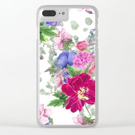Floral print with tulips and anemones Clear iPhone Case
