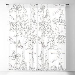 Yoga Asanas black on white Blackout Curtain