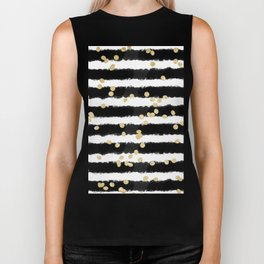 Modern black watercolor stripes chic gold confetti Biker Tank