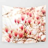 cherry blossoms Wall Tapestries featuring Cherry Blossoms by Vivienne Gucwa