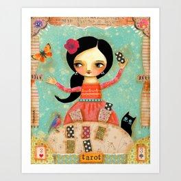 Tarot Card Reader mixed media painting by TASCHA Art Print