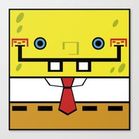 spongebob Canvas Prints featuring SpongeBob by nu boniglio