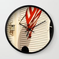 american flag Wall Clocks featuring American Flag by Agent Cake