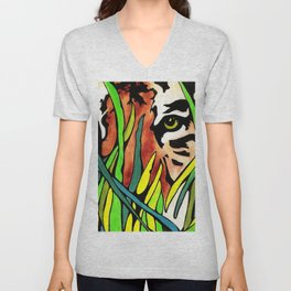 Tiger Eyes Looking Through Tall Grass By annmariescreations Unisex V-Neck