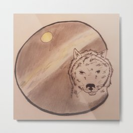 wolf,moon and northern lights Metal Print