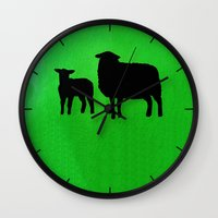 sheep Wall Clocks featuring Sheep by Brontosaurus