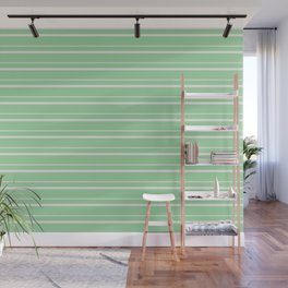 Linen Off White Horizontal Line Pattern 3 on Pastel Green Pairs to 2020 Color of the Year Neo Mint Wall Mural