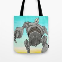 iron giant Tote Bags featuring Iron Giant by 117 Art