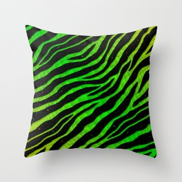 Ripped SpaceTime Stripes - Lime/Green Throw Pillow