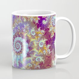 Purple Fractal Sea Horse, Abstract Ocean Waves Swirls Coffee Mug