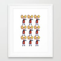 hey arnold Framed Art Prints featuring Hey Arnold! Pattern by laura nye.