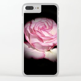 fully blossom rose on black Clear iPhone Case