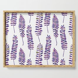 Watercolour Fern Pattern | Purple and Gold Serving Tray