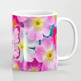 Butterfly and Flowers Coffee Mug