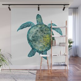 Watercolor Sea Turtle - Turquoise Wall Mural