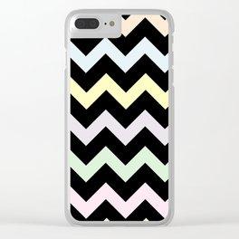 Pastel Chevron on Black Clear iPhone Case