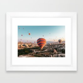 Over 100 hot air balloons in Cappadocia, Turkey Framed Art Print