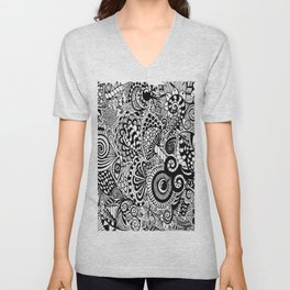 Mushy Madness doodle art Black and White Unisex V-Neck