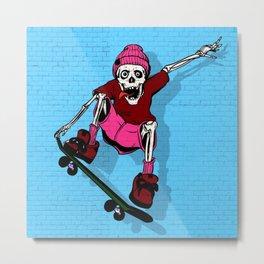 Gnarly Skeleton Metal Print