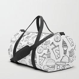 Fast Food Monoline Doodles Duffle Bag