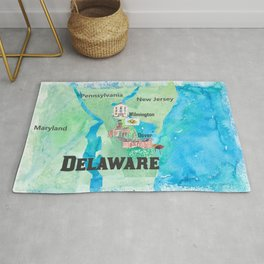 USA Delaware State Travel Poster Map with Touristic Highlights Rug