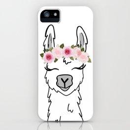 Floral Crown Llama iPhone Case