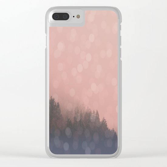Frosty Morn, Forest Landscape Sparkles Clear iPhone Case