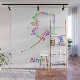 Rainbow Alaska map Wall Mural