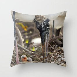 Wood Stork and her Babies Throw Pillow