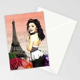 Retro Pinup Girl Flowers & Music in Paris Stationery Cards