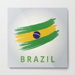 Abstract Brazil Flag Design Metal Print