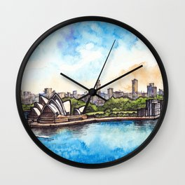 Sydney ink & watercolor illustration Wall Clock