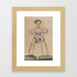 Attributed to Deborah Goldsmith (1808 - 1836) FULL-LENGTH PORTRAIT OF A GIRL IN A WHITE DRESS Framed Art Print