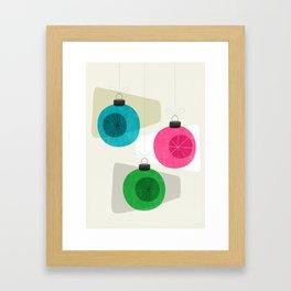 Retro Holiday Baubles Framed Art Print