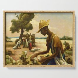 Classical Masterpiece 'Picking Cotton Under the Sun' by Thomas Hart Benton Serving Tray