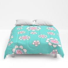 Mandala Flowers Pattern Blue Pink Comforters