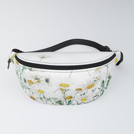 white margaret daisy horizontal watercolor painting Fanny Pack